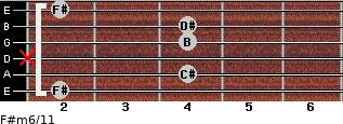 F#m6/11 for guitar on frets 2, 4, x, 4, 4, 2