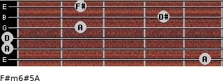 F#m6#5/A for guitar on frets 5, 0, 0, 2, 4, 2