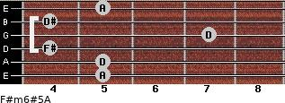 F#m6#5/A for guitar on frets 5, 5, 4, 7, 4, 5