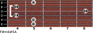 F#m6#5/A for guitar on frets 5, 5, 4, 8, 4, 5