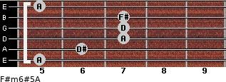 F#m6#5/A for guitar on frets 5, 6, 7, 7, 7, 5