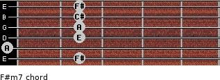 F#m7 for guitar on frets 2, 0, 2, 2, 2, 2