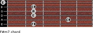 F#m7 for guitar on frets 2, 4, 2, 2, 2, 0