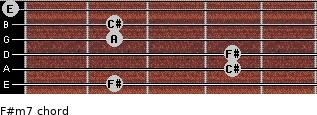F#m7 for guitar on frets 2, 4, 4, 2, 2, 0