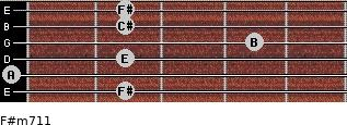 F#m7/11 for guitar on frets 2, 0, 2, 4, 2, 2