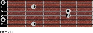 F#m7/11 for guitar on frets 2, 0, 4, 4, 2, 0