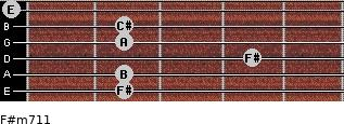 F#m7/11 for guitar on frets 2, 2, 4, 2, 2, 0