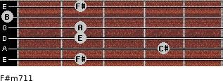 F#m7/11 for guitar on frets 2, 4, 2, 2, 0, 2