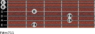 F#m7/11 for guitar on frets 2, 4, 4, 2, 0, 0