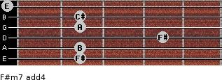 F#m7(add4) for guitar on frets 2, 2, 4, 2, 2, 0