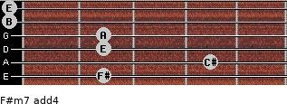 F#m7(add4) for guitar on frets 2, 4, 2, 2, 0, 0
