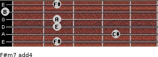 F#m7(add4) for guitar on frets 2, 4, 2, 2, 0, 2