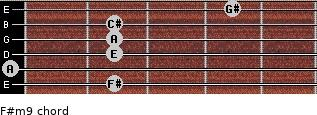 F#m9 for guitar on frets 2, 0, 2, 2, 2, 4