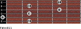 F#m9/11 for guitar on frets 2, 0, 2, 4, 2, 4