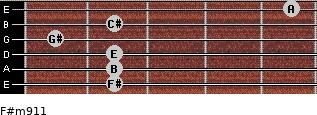 F#m9/11 for guitar on frets 2, 2, 2, 1, 2, 5