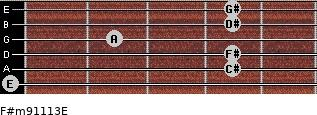 F#m9/11/13/E for guitar on frets 0, 4, 4, 2, 4, 4
