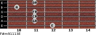 F#m9/11/13/E for guitar on frets 12, 11, 11, 11, 10, 11