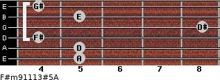 F#m9/11/13#5/A for guitar on frets 5, 5, 4, 8, 5, 4