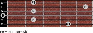 F#m9/11/13#5/Ab for guitar on frets 4, 2, 0, 2, 5, 2