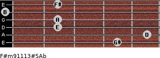 F#m9/11/13#5/Ab for guitar on frets 4, 5, 2, 2, 0, 2