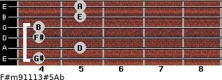 F#m9/11/13#5/Ab for guitar on frets 4, 5, 4, 4, 5, 5