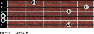 F#m9/11/13#5/G# for guitar on frets 4, 0, 0, 4, 5, 2