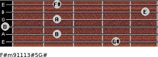 F#m9/11/13#5/G# for guitar on frets 4, 2, 0, 2, 5, 2