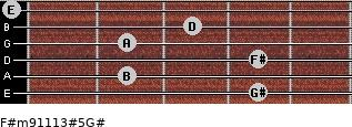 F#m9/11/13#5/G# for guitar on frets 4, 2, 4, 2, 3, 0