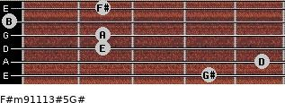 F#m9/11/13#5/G# for guitar on frets 4, 5, 2, 2, 0, 2