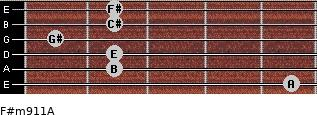 F#m9/11/A for guitar on frets 5, 2, 2, 1, 2, 2