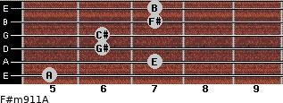 F#m9/11/A for guitar on frets 5, 7, 6, 6, 7, 7