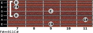 F#m9/11/C# for guitar on frets 9, 11, 7, 9, 7, 7