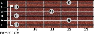 F#m9/11/C# for guitar on frets 9, 12, 9, 11, 9, 12