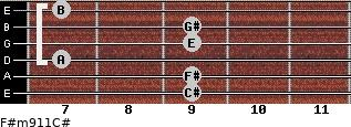 F#m9/11/C# for guitar on frets 9, 9, 7, 9, 9, 7