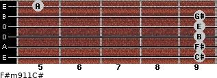 F#m9/11/C# for guitar on frets 9, 9, 9, 9, 9, 5