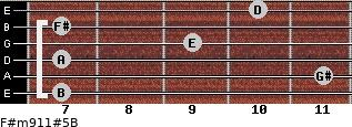 F#m9/11#5/B for guitar on frets 7, 11, 7, 9, 7, 10
