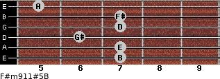 F#m9/11#5/B for guitar on frets 7, 7, 6, 7, 7, 5