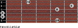 F#m9/11#5/G# for guitar on frets 4, 0, 0, 4, 5, 2