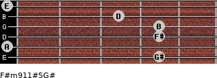 F#m9/11#5/G# for guitar on frets 4, 0, 4, 4, 3, 0
