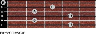 F#m9/11#5/G# for guitar on frets 4, 2, 4, 2, 3, 0