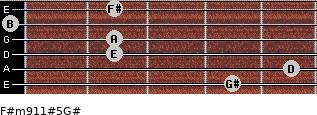 F#m9/11#5/G# for guitar on frets 4, 5, 2, 2, 0, 2