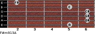 F#m9/13/A for guitar on frets 5, 6, 6, 6, 5, 2