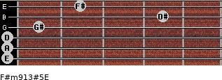 F#m9/13#5/E for guitar on frets 0, 0, 0, 1, 4, 2