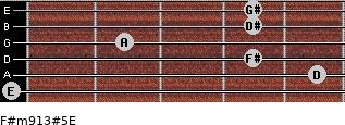 F#m9/13#5/E for guitar on frets 0, 5, 4, 2, 4, 4