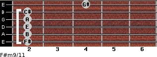 F#m9/11 for guitar on frets 2, 2, 2, 2, 2, 4