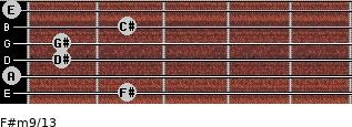 F#m9/13 for guitar on frets 2, 0, 1, 1, 2, 0