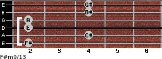 F#m9/13 for guitar on frets 2, 4, 2, 2, 4, 4