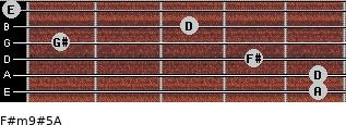 F#m9#5/A for guitar on frets 5, 5, 4, 1, 3, 0