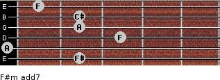 F#m(add7) for guitar on frets 2, 0, 3, 2, 2, 1