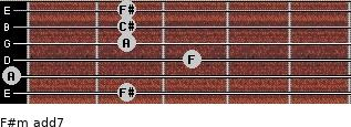 F#m(add7) for guitar on frets 2, 0, 3, 2, 2, 2